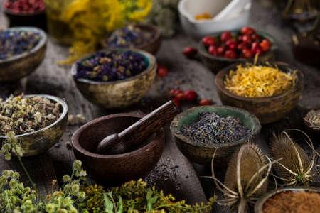Alternative health, fresh herbal and mortar on wooden background Archivio Fotografico