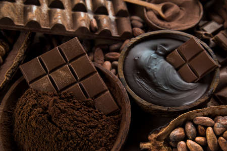Cocoa pod, beans and chocolate