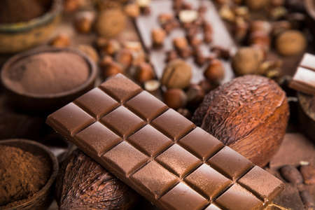 Assorted chocolate bar, candy sweet, cocoa pod