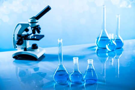 Microscope, Glassware, Laboratory beakers, Science experiment