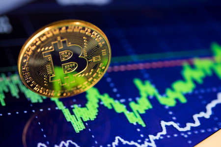 Financial chart, Cryptocurrency, Virtual money background