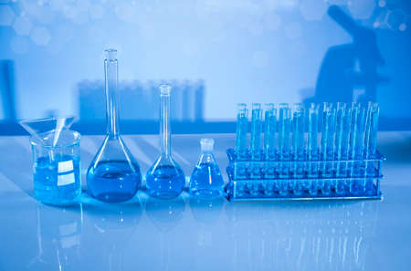 Laboratory equipment, glass filled background
