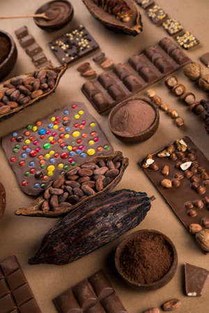 Bars Chocolate, candy sweet, dessert food on natural paper background