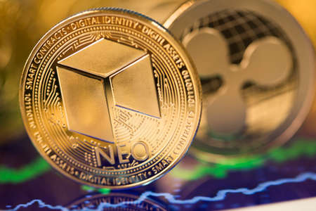 Cryptocurrency concept. Litecoin, etherium, bitcoin virtual currency background