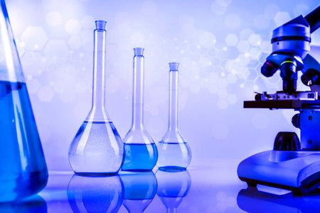 Microscope, Laboratory beakers, Science experiment