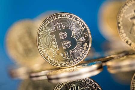 Golden Bitcoin coins, finance concept