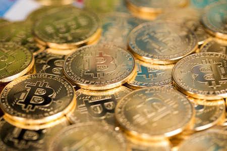 Virtual money, Currency. Bitcoin coins, financial