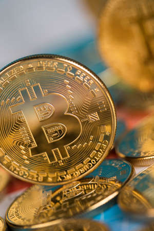 Bitcoin is a cryptocurrency and worldwide payment, technology concept Banque d'images