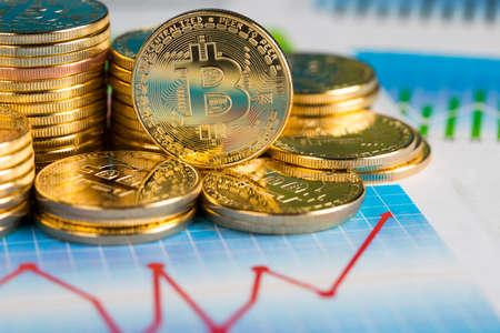 Chart, Golden Bitcoin Coin, virtual money, financial concept
