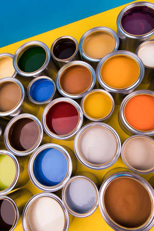 Creativity concept group of tin metal cans with color paint