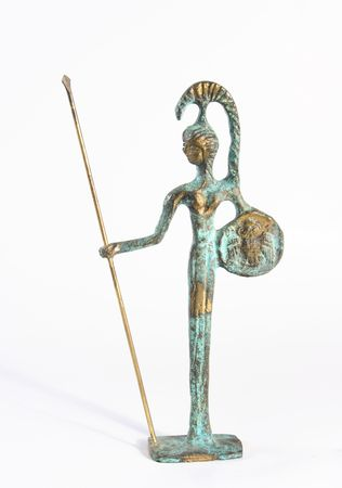 A small bronze statue of Athena on white background photo