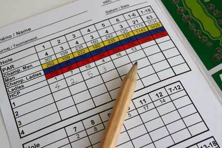 Golf accessories, a pencil on a golf scorecard