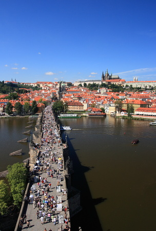 View on the Prague castle over Charles bridge, Czech republic     Stock Photo