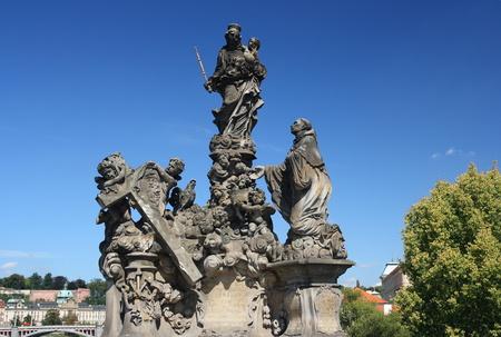 Statue on Charles Bridge, Prague , Czech republic     photo