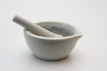 Ceramic grinding mortar and pestle photo