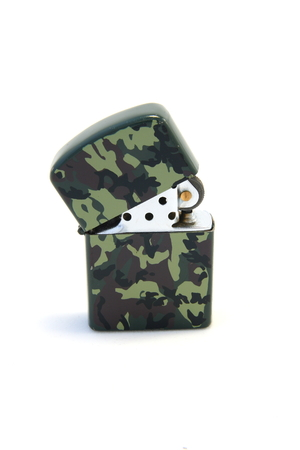 benzine: Camouflaged benzine lighter on a white background