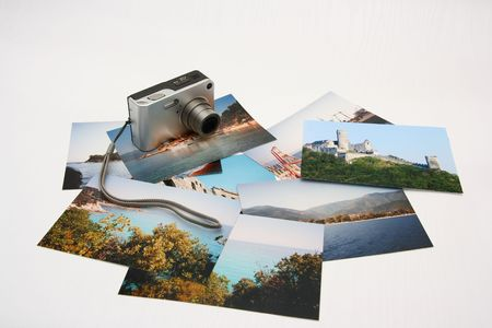Summer photos with digital camera on white background