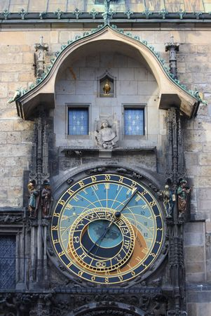 timekeeping: A astronomical clock in Prague, Czech republic in the Old Town Square.