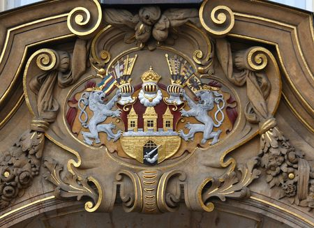 A shield of Prague, Czech republic, on historical building Stock Photo