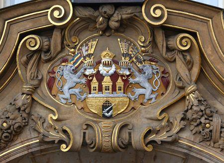 A shield of Prague, Czech republic, on historical building Stock Photo