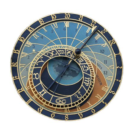 sundial: A astronomical clock in Prague, Czech republic in the Old Town Square.