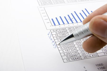 Hand with pen showing diagram  Stock Photo - 2677508