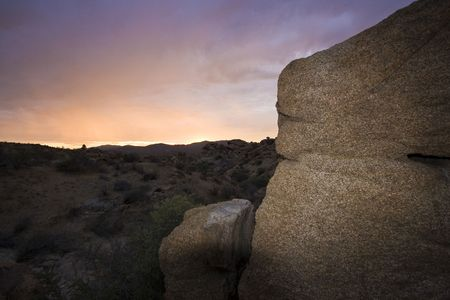 sunset in Joshua Tree National Park, in the Mojave Desert of Southern California photo