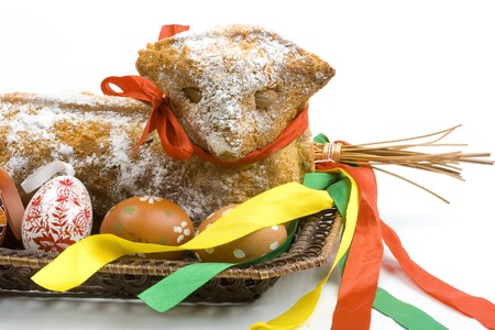 easter pastry, hand painted Easter egg and decorated dose isolated on white background     photo