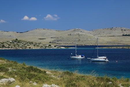 Yachts near Kornati island - Adriatic sea  Stock Photo