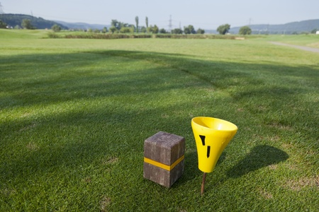 fairway: tee box and fairway of a beautiful golf course Stock Photo