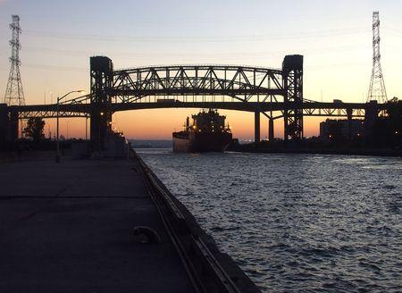 Ship Under the Lift Bridge photo