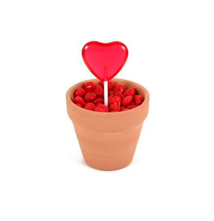 shaped: A red, heart shaped lollipop grows out of cinnamon heart soil in a terracotta flowerpot. Isolated on white background.