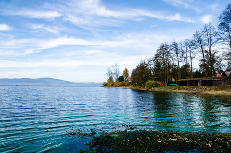 lipno: Shore of Lipno Lake with beach in autumn in Czech Republic. Nice view of beach and forest in background.