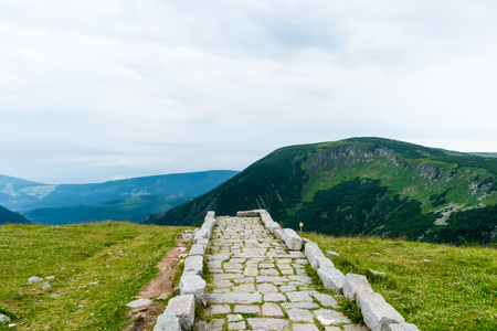 The ridges of Krkonose National Park, the view of the valley. Stock Photo