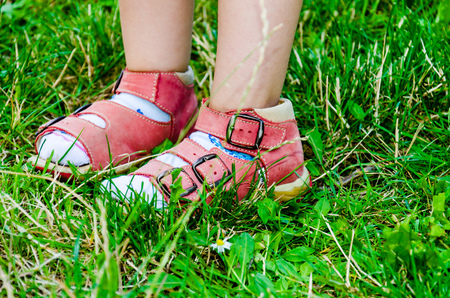 Childrens legs in red sandals in green grass.