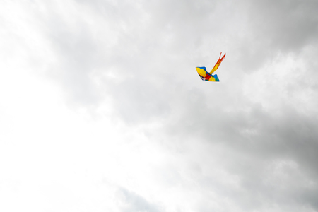 Flying kite in the air. Dark clouds on the background.  Autumn windy weather. Stock Photo