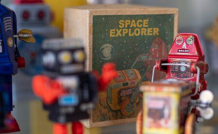 vintage toy robots 免版税图像