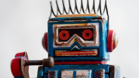 head of a vintage toy robot