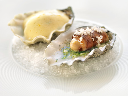 flatter: hors doeuvres with oyster Stock Photo