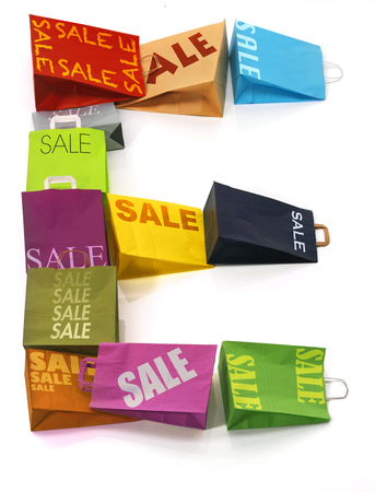 colorful shopping bags lettre E