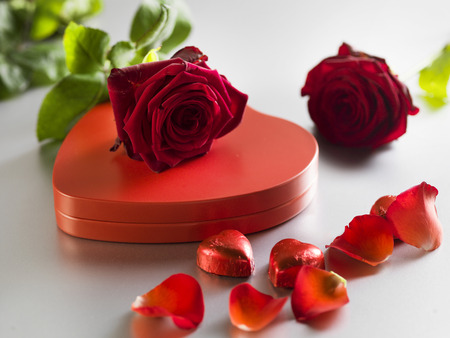 Red roses and box with red hearts on a white background. Valentines Day concept Stock Photo