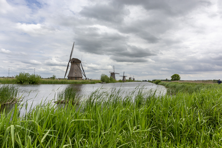 Beautiful views of the mills of the Kinderdijk Open Air Museum in Netherlands during Summer, Holland, europe