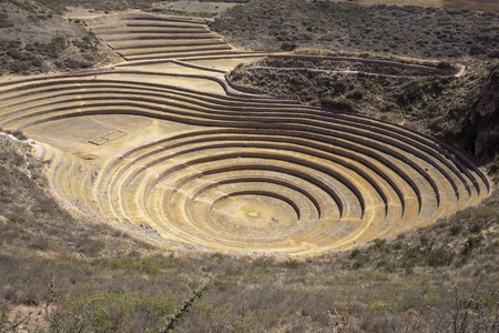 Inca circular terraces at Moray (Ancient agricultural experiment station) - Peru, South America Imagens
