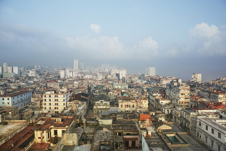 Sunset city of Havana including the old town and several iconic buildings