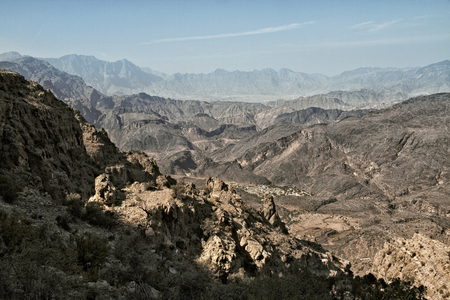 General view of the mountains of Wadi Bani Awf in Western Hajar