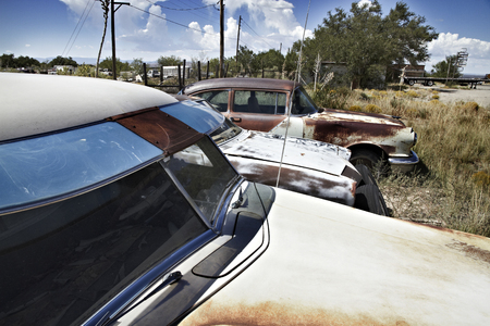 Old rusty cars in outback paddock