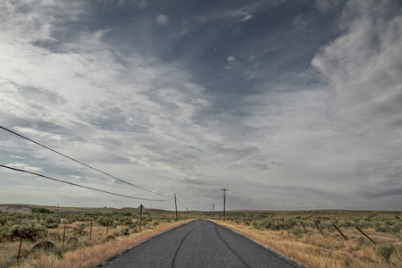 Road through the prairie in the united states of amerika