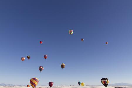 Alamogordo, USA Balloon Fiesta on a sunny day. White Sands National Monument in Alamogordo,New Mexico, USA
