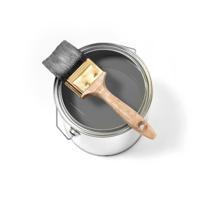 Grey paint tin can with brush on top on a white background with grey strokes Standard-Bild - 118518082