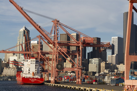 A view of the Seattle harbour in the USA